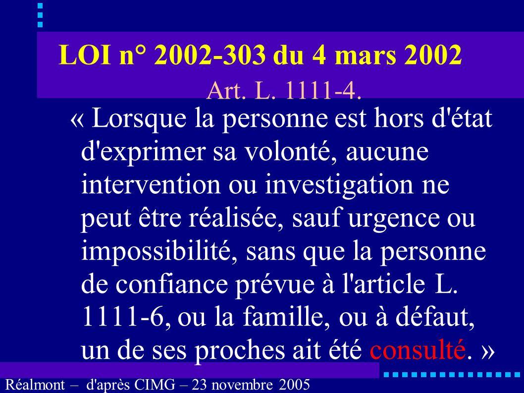 Réalmont – d'après CIMG – 23 novembre 2005 Personne de confiance Quels sont les droits de la personne de confiance ?