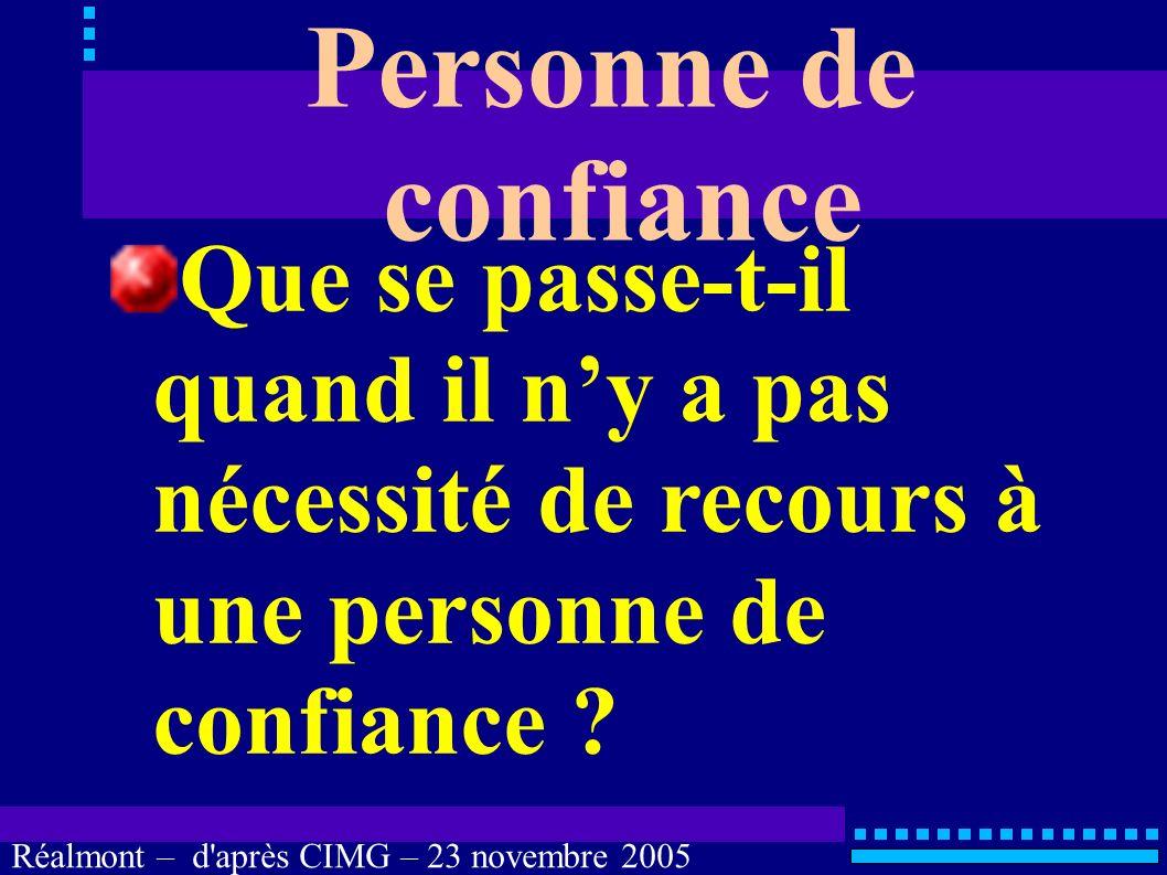Réalmont – d'après CIMG – 23 novembre 2005 Personne de confiance LOI n° 2002-303 du 4 mars 2002 LOI n° 2005-370 du 22 avril 2005