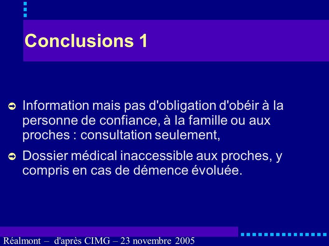 Réalmont – d'après CIMG – 23 novembre 2005 Avantages : nos convictions au-delà de nos capacités à les exprimer, avoir un interlocuteur plus « officiel