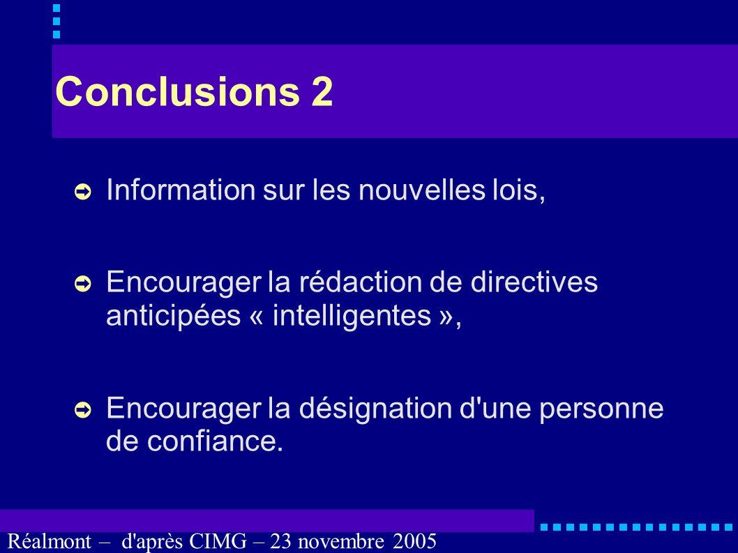 Réalmont – d'après CIMG – 23 novembre 2005 Conclusions 1 Information mais pas d'obligation d'obéir à la personne de confiance, à la famille ou aux pro