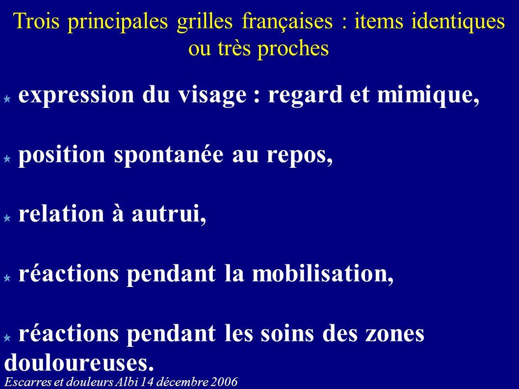 Escarres et douleurs Albi 14 décembre 2006 Trois principales grilles françaises : items identiques ou très proches expression du visage : regard et mi