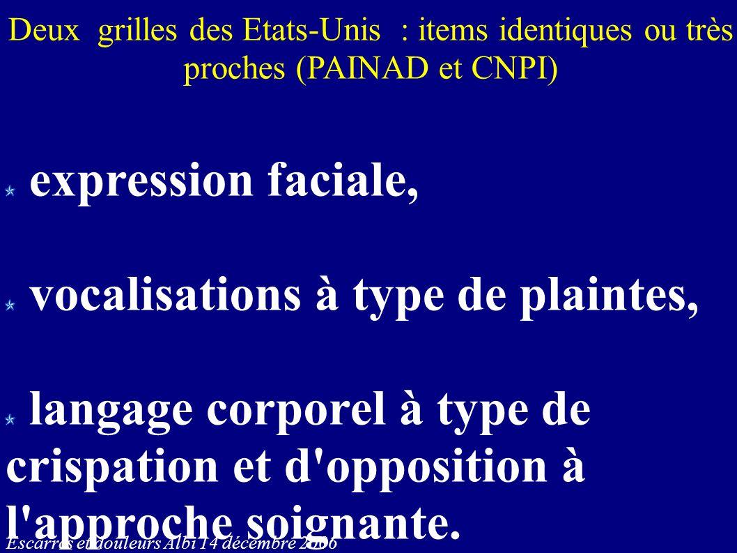 Escarres et douleurs Albi 14 décembre 2006 Deux grilles des Etats-Unis : items identiques ou très proches (PAINAD et CNPI) expression faciale, vocalis