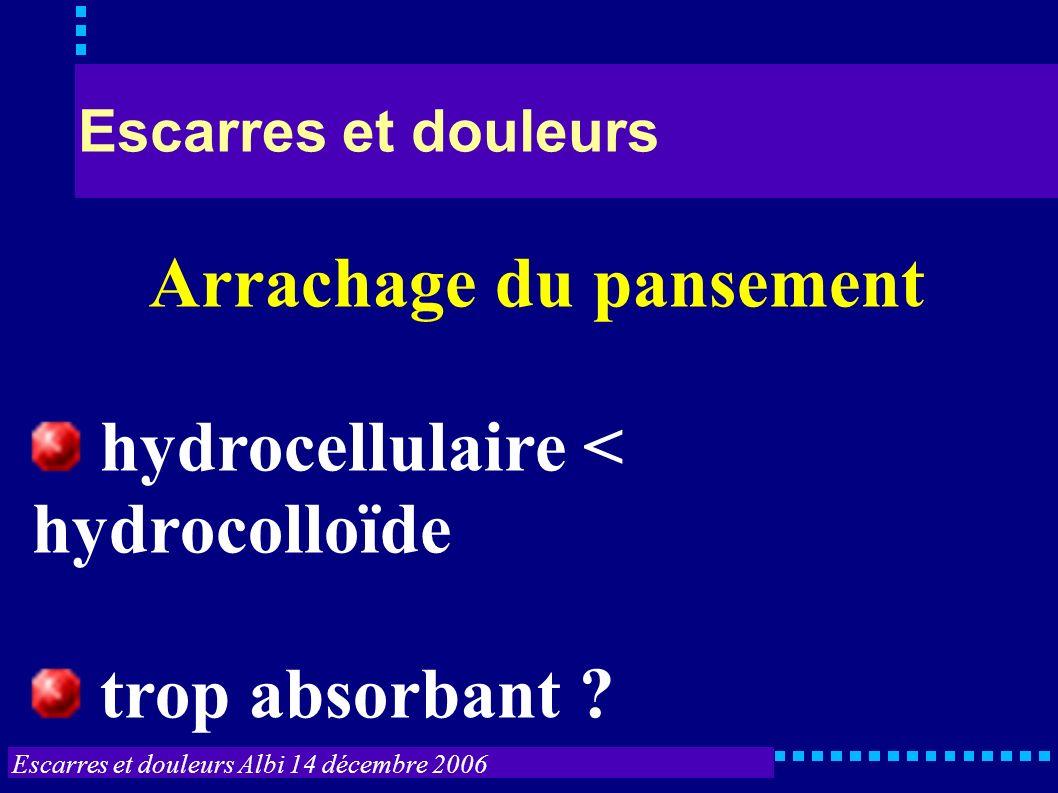Escarres et douleurs Albi 14 décembre 2006 Escarres et douleurs Arrachage du pansement hydrocellulaire < hydrocolloïde trop absorbant ?