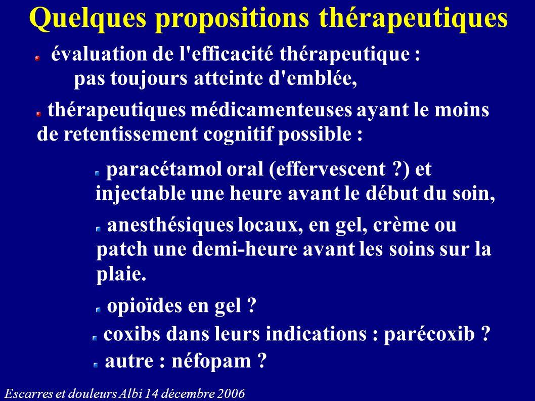 Quelques propositions thérapeutiques évaluation de l'efficacité thérapeutique : pas toujours atteinte d'emblée, thérapeutiques médicamenteuses ayant l