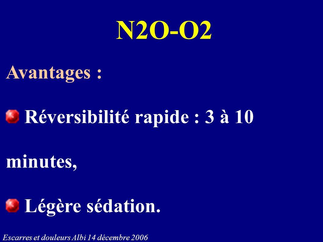N2O-O2 Avantages : Réversibilité rapide : 3 à 10 minutes, Légère sédation.