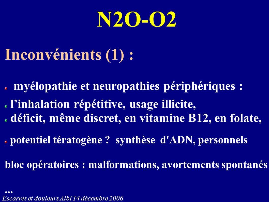 Escarres et douleurs Albi 14 décembre 2006 N2O-O2 Inconvénients (1) : myélopathie et neuropathies périphériques : linhalation répétitive, usage illici