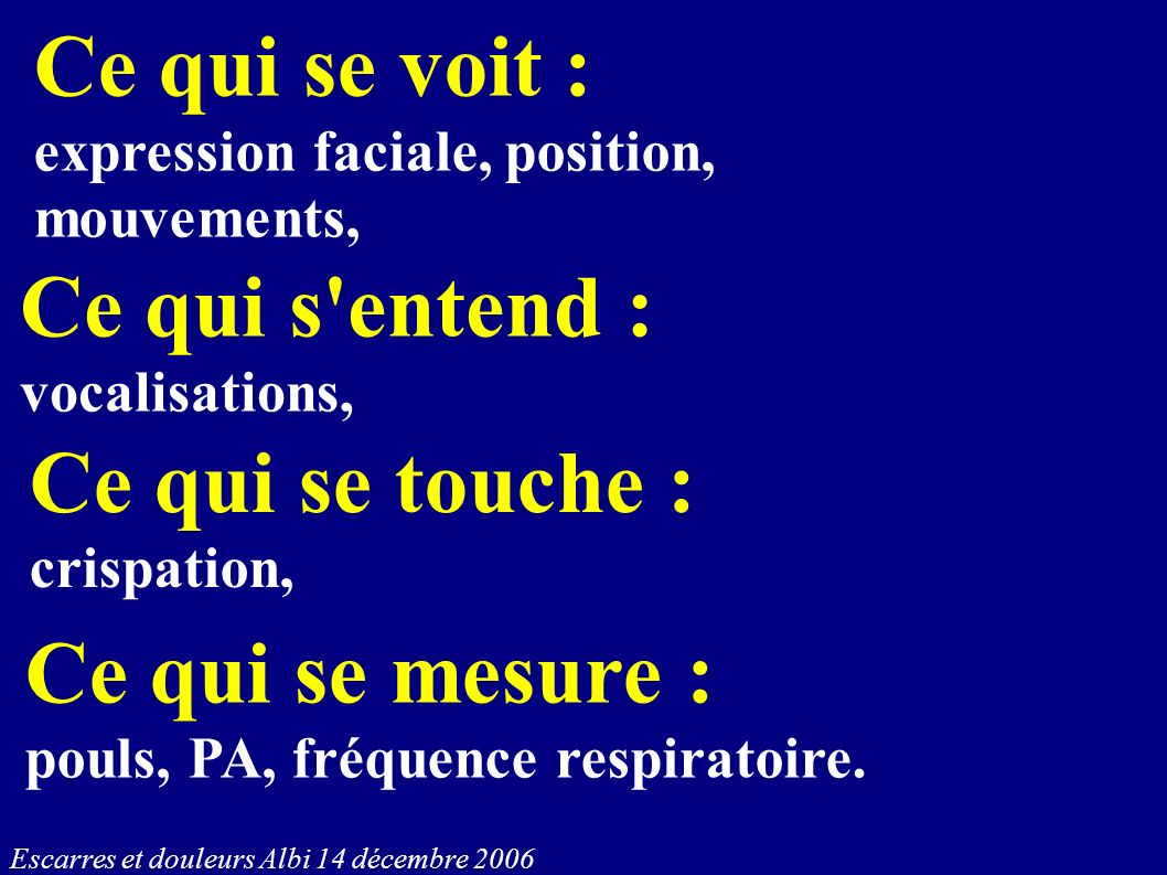 Ce qui se voit : expression faciale, position, mouvements, Ce qui s'entend : vocalisations, Ce qui se touche : crispation, Ce qui se mesure : pouls, P