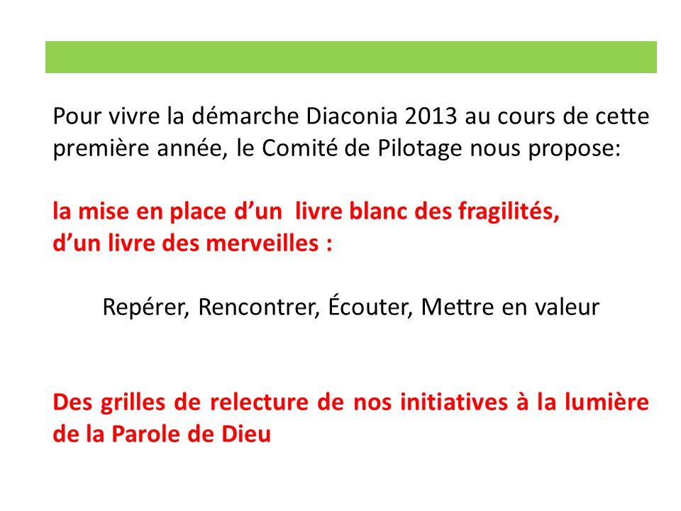 Pour vivre la démarche Diaconia 2013 au cours de cette première année, le Comité de Pilotage nous propose: la mise en place dun livre blanc des fragil