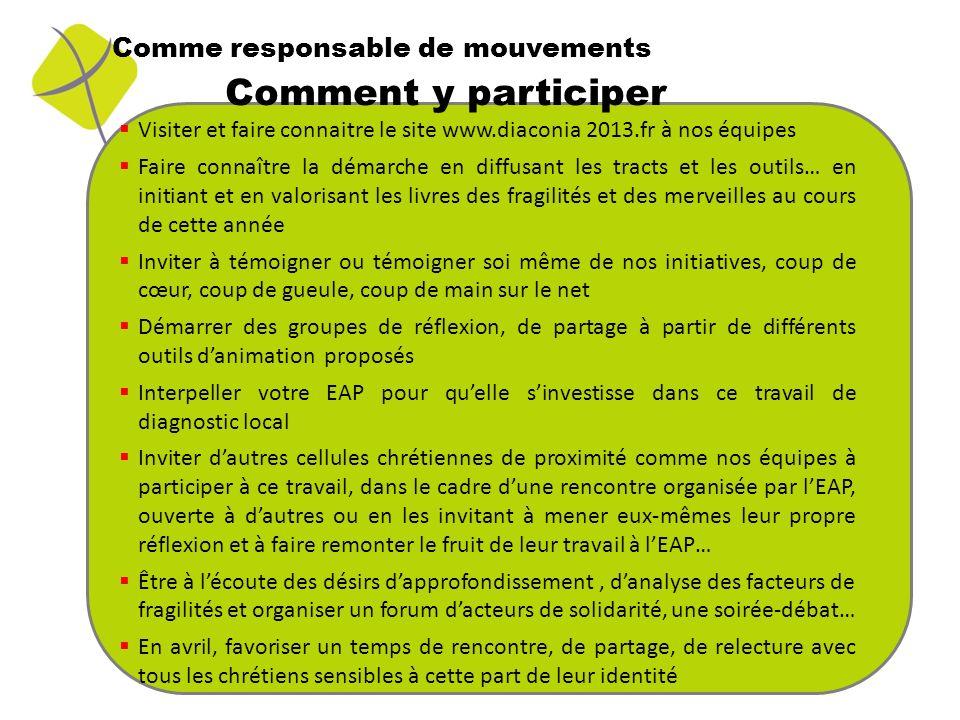 Comme responsable de mouvements Visiter et faire connaitre le site www.diaconia 2013.fr à nos équipes Faire connaître la démarche en diffusant les tra