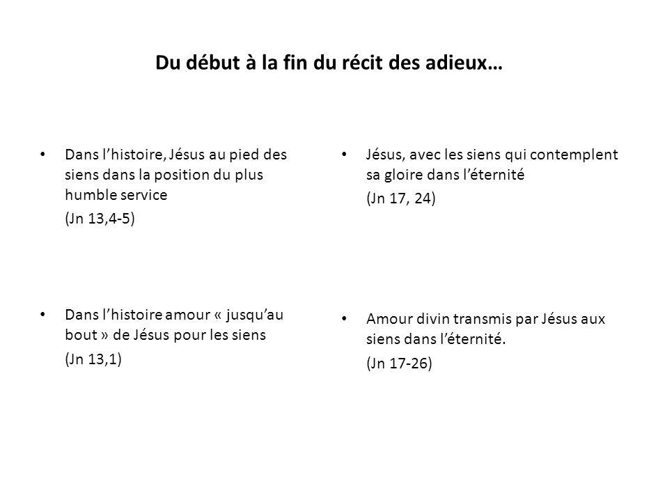 Section 41 - Jn 15,18-25 Si le monde vous hait … Service et gloire Section 21 - Jn 13,31-35 Maintenant le FDH a été glorifié Séparation Commandement nouveau Section 11 - Jn 13,1-5 Avant la fête de la Pâque… Jésus, sachant… les aima jusquau bout Jésus, serviteur, lave les pieds des disciples Section 51 - Jn 17,1-5 Père, lHeure est venue.