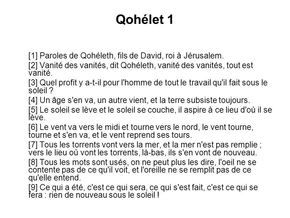 Qohélet 1 [1] Paroles de Qohéleth, fils de David, roi à Jérusalem. [2] Vanité des vanités, dit Qohéleth, vanité des vanités, tout est vanité. [3] Quel