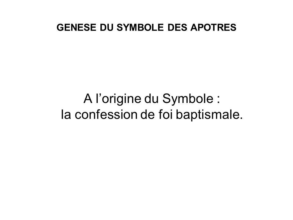 GENESE DU SYMBOLE DES APOTRES A lorigine du Symbole : la confession de foi baptismale.
