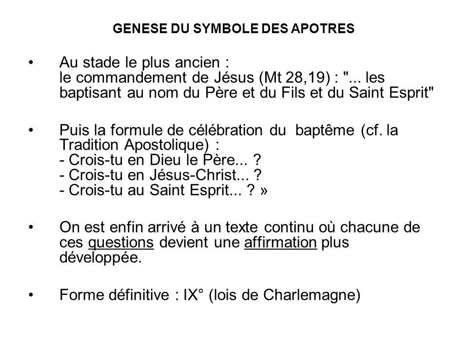 GENESE DU SYMBOLE DES APOTRES Au stade le plus ancien : le commandement de Jésus (Mt 28,19) :