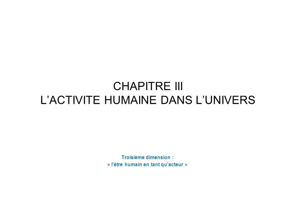 CHAPITRE III LACTIVITE HUMAINE DANS LUNIVERS Troisième dimension : « lêtre humain en tant quacteur »