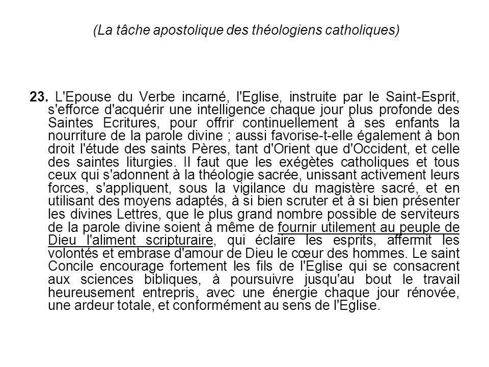 (La tâche apostolique des théologiens catholiques) 23. L'Epouse du Verbe incarné, l'Eglise, instruite par le Saint-Esprit, s'efforce d'acquérir une in