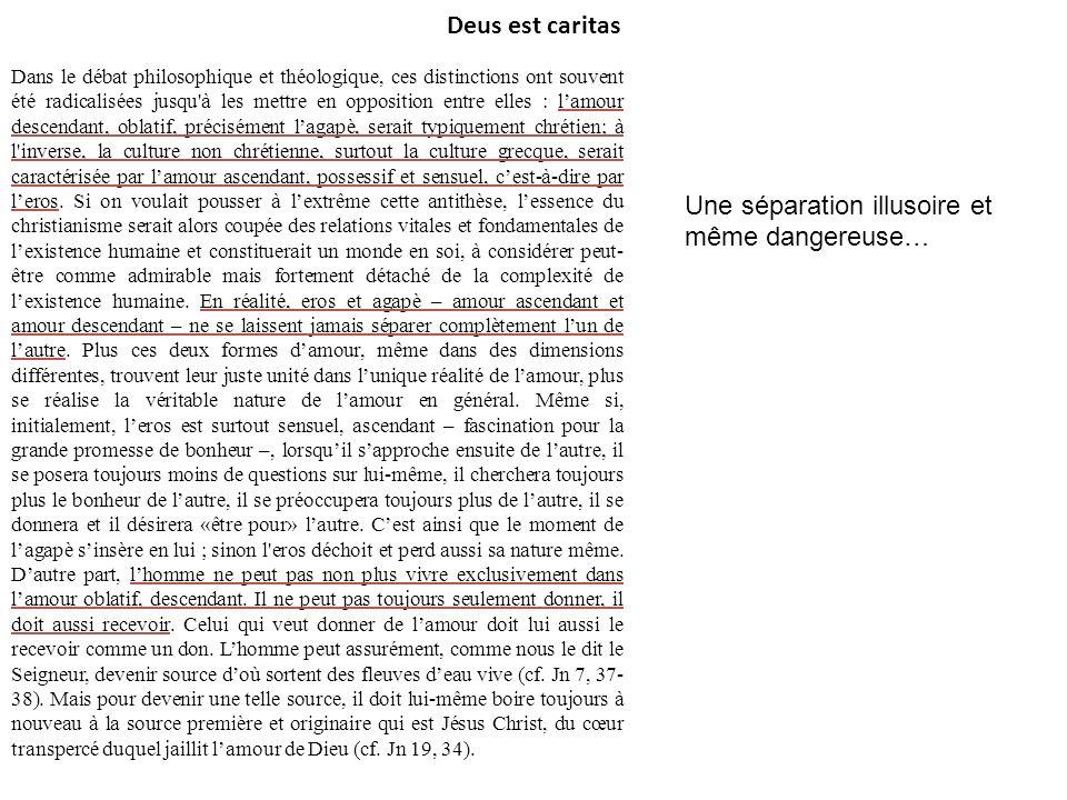 Deus est caritas Dans le débat philosophique et théologique, ces distinctions ont souvent été radicalisées jusqu'à les mettre en opposition entre elle