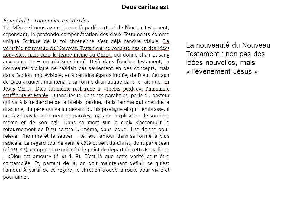 Deus caritas est Jésus Christ – lamour incarné de Dieu 12. Même si nous avons jusque-là parlé surtout de lAncien Testament, cependant, la profonde com