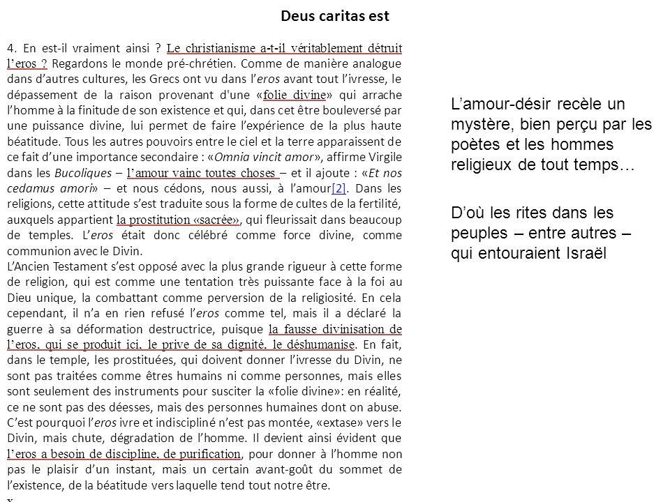 Deus caritas est 4. En est-il vraiment ainsi ? Le christianisme a-t-il véritablement détruit leros ? Regardons le monde pré-chrétien. Comme de manière