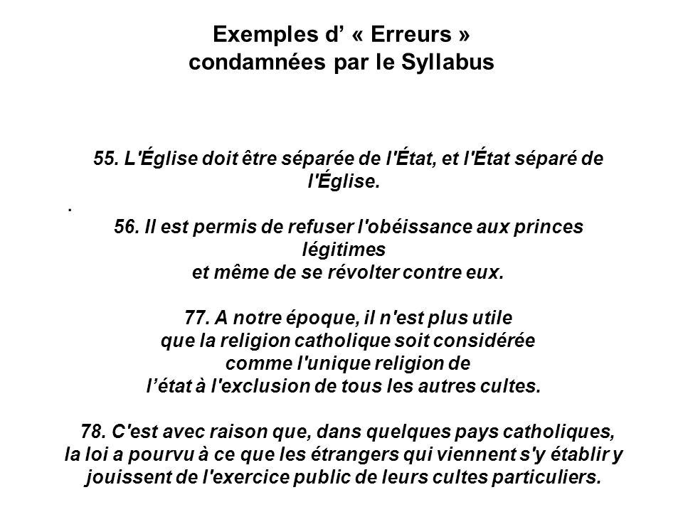 Exemples d « Erreurs » condamnées par le Syllabus.