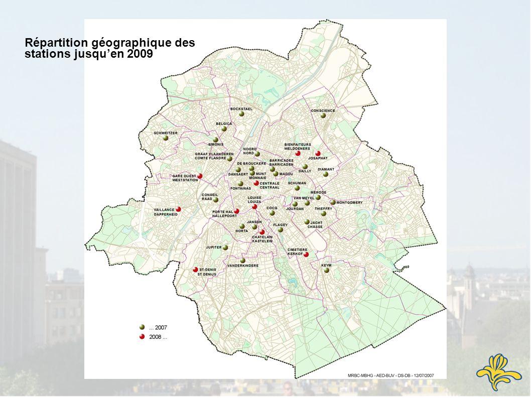Répartition géographique des stations jusquen 2009