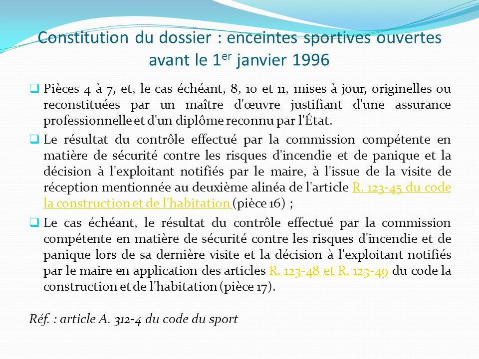 Constitution du dossier : enceintes sportives ouvertes avant le 1 er janvier 1996 Pièces 4 à 7, et, le cas échéant, 8, 10 et 11, mises à jour, origine