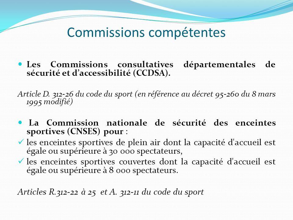Commissions compétentes Les Commissions consultatives départementales de sécurité et daccessibilité (CCDSA). Article D. 312-26 du code du sport (en ré