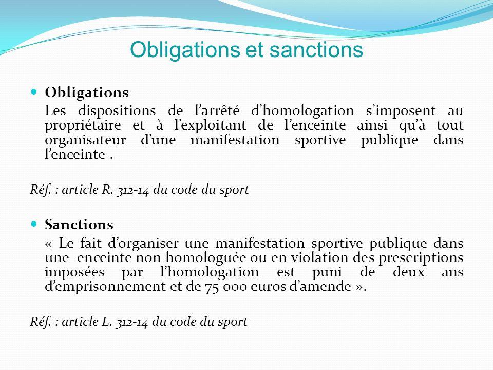 Obligations Les dispositions de larrêté dhomologation simposent au propriétaire et à lexploitant de lenceinte ainsi quà tout organisateur dune manifes