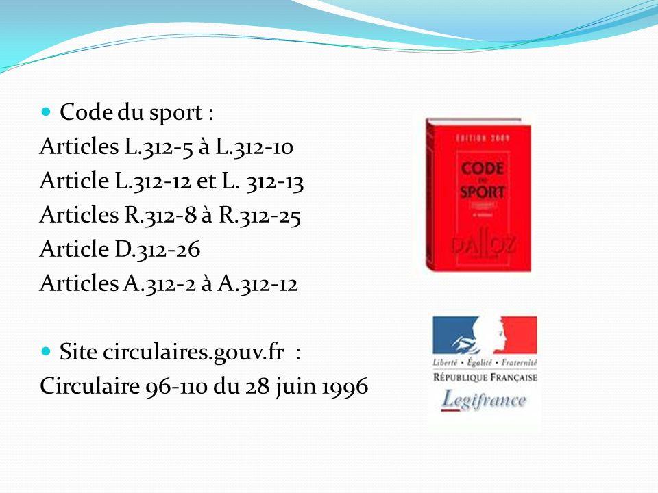 Code du sport : Articles L.312-5 à L.312-10 Article L.312-12 et L. 312-13 Articles R.312-8 à R.312-25 Article D.312-26 Articles A.312-2 à A.312-12 Sit