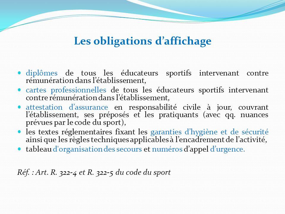 Les obligations daffichage diplômes de tous les éducateurs sportifs intervenant contre rémunération dans létablissement, cartes professionnelles de to