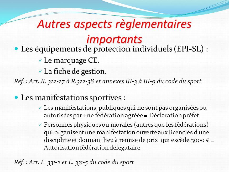 Autres aspects règlementaires importants Les équipements de protection individuels (EPI-SL) : Le marquage CE. La fiche de gestion. Réf. : Art. R. 322-