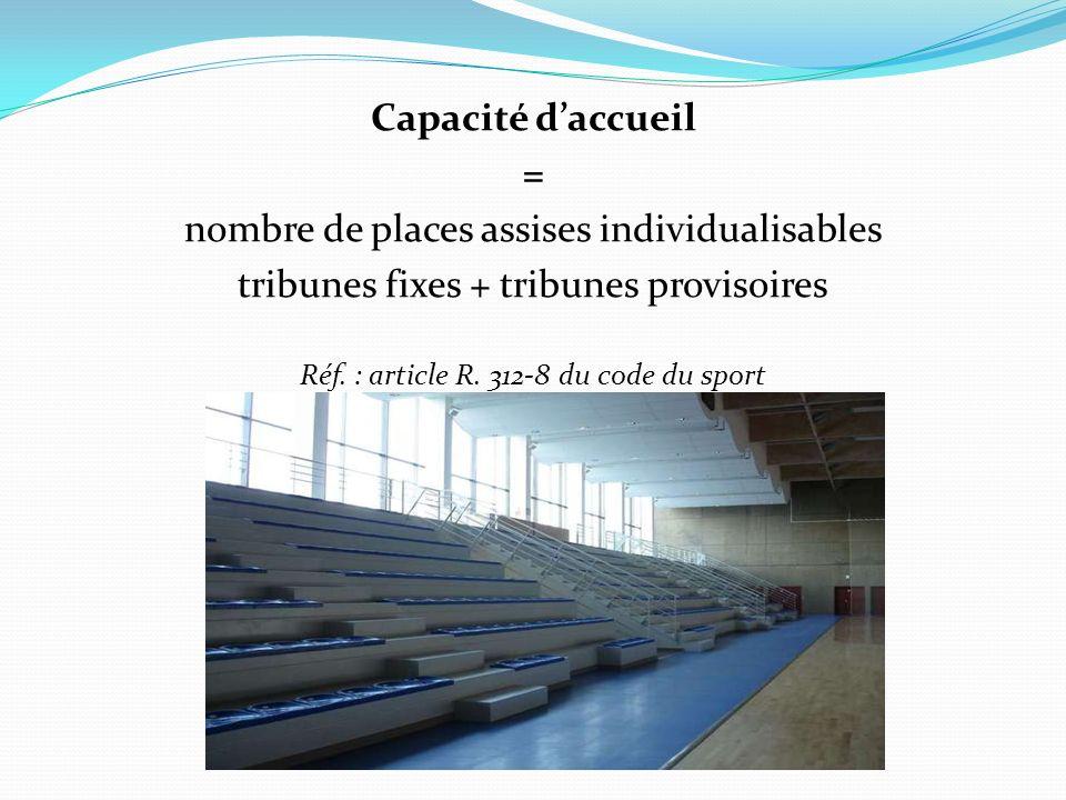 Capacité daccueil = nombre de places assises individualisables tribunes fixes + tribunes provisoires Réf. : article R. 312-8 du code du sport