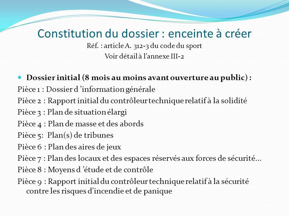 Constitution du dossier : enceinte à créer Réf. : article A. 312-3 du code du sport Voir détail à lannexe III-2 Dossier initial (8 mois au moins avant