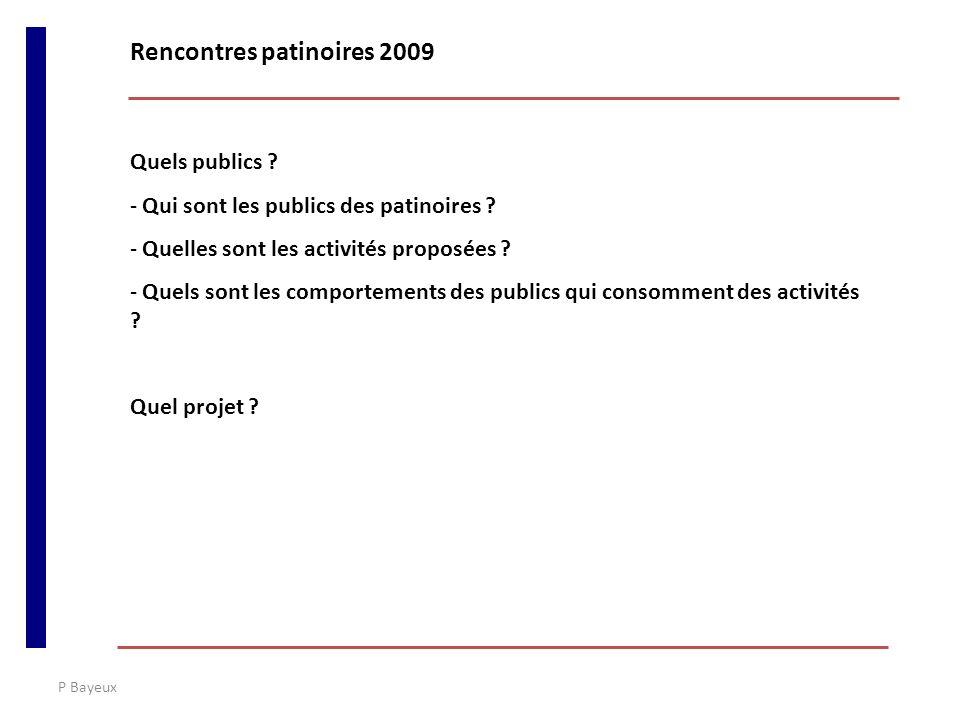 P Bayeux Des données rares sur « la consommation de patinoire » -Des données sur la consommation de loisirs -Des données sur les équipements sportifs Rencontres patinoires 2009