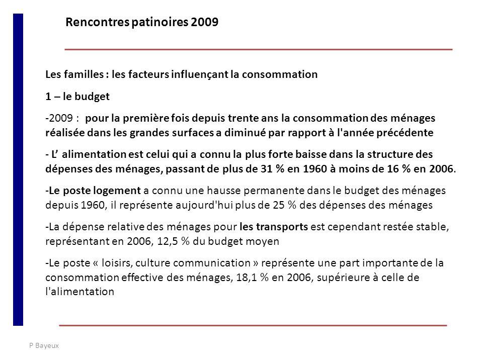 P Bayeux Les familles : les facteurs influençant la consommation 1 – le budget -2009 : pour la première fois depuis trente ans la consommation des mén