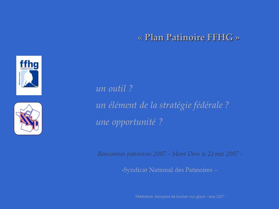 « Plan Patinoire FFHG » merci pour votre attention Fédération française de hockey sur glace – mai 2007 - Luc TARDIF, président fédéral Rencontres patinoires 2007 – Mont Dore le 23 mai 2007 - -Syndicat National des Patinoires –