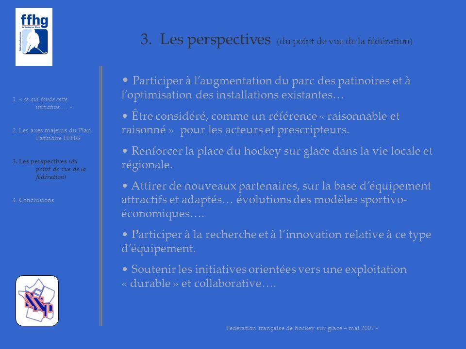 3. Les perspectives (du point de vue de la fédération) 1. « ce qui fonde cette initiative…. » 2. Les axes majeurs du Plan Patinoire FFHG 3. Les perspe
