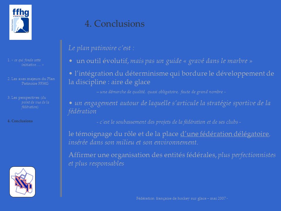 4. Conclusions 1. « ce qui fonde cette initiative…. » 2. Les axes majeurs du Plan Patinoire FFHG 3. Les perspectives (du point de vue de la fédération