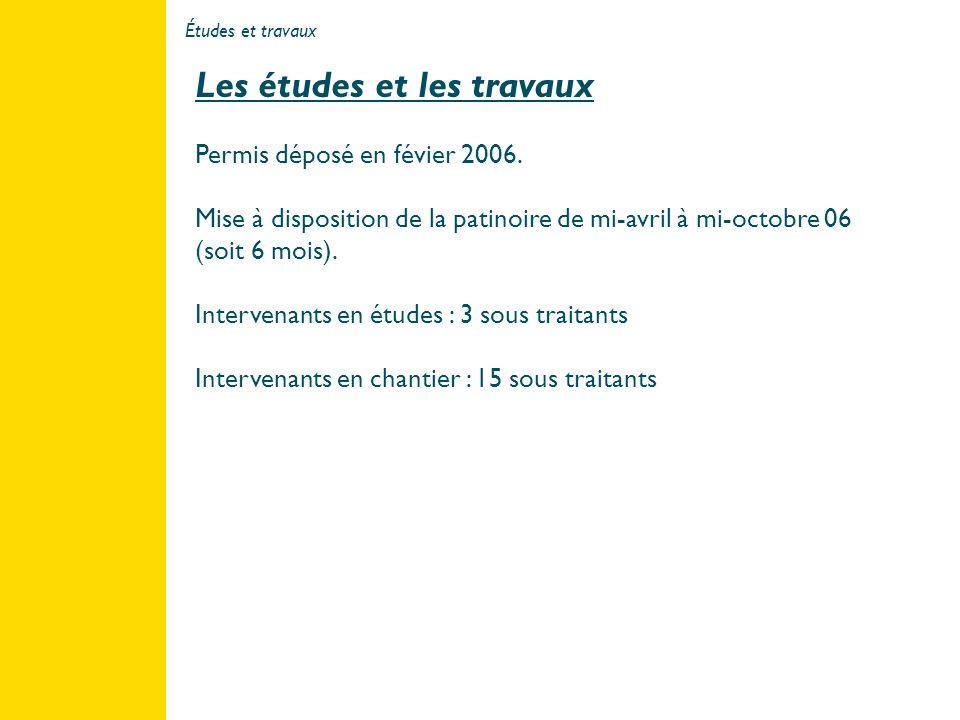 Études et travaux 3 Les études et les travaux Permis déposé en févier 2006. Mise à disposition de la patinoire de mi-avril à mi-octobre 06 (soit 6 moi