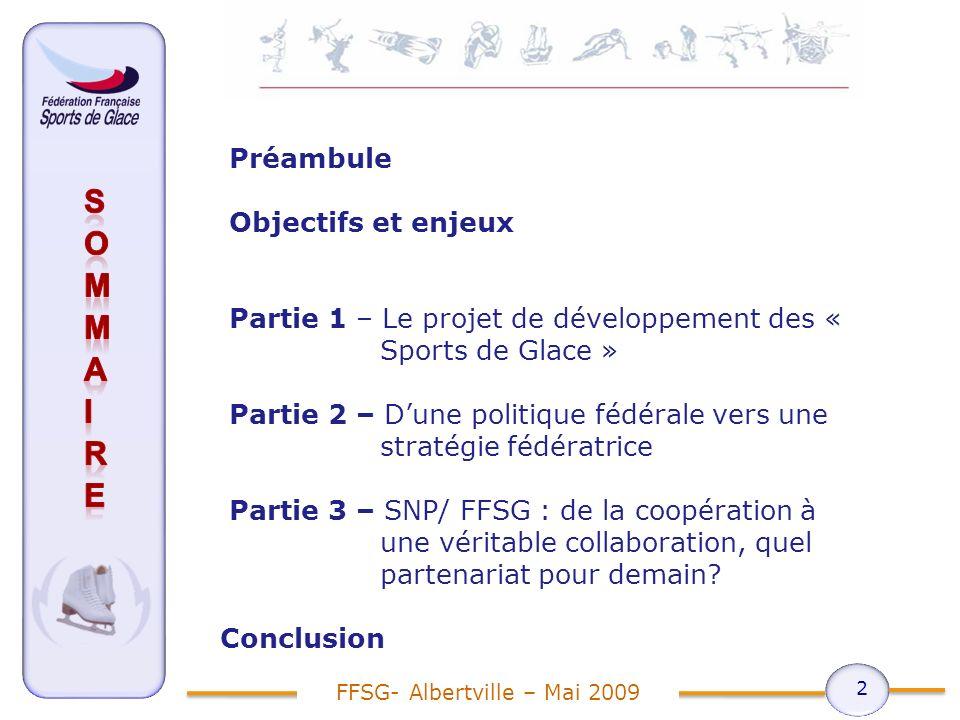 Préambule Objectifs et enjeux Partie 1 – Le projet de développement des « Sports de Glace » Partie 2 – Dune politique fédérale vers une stratégie fédératrice Partie 3 – SNP/ FFSG : de la coopération à une véritable collaboration, quel partenariat pour demain.
