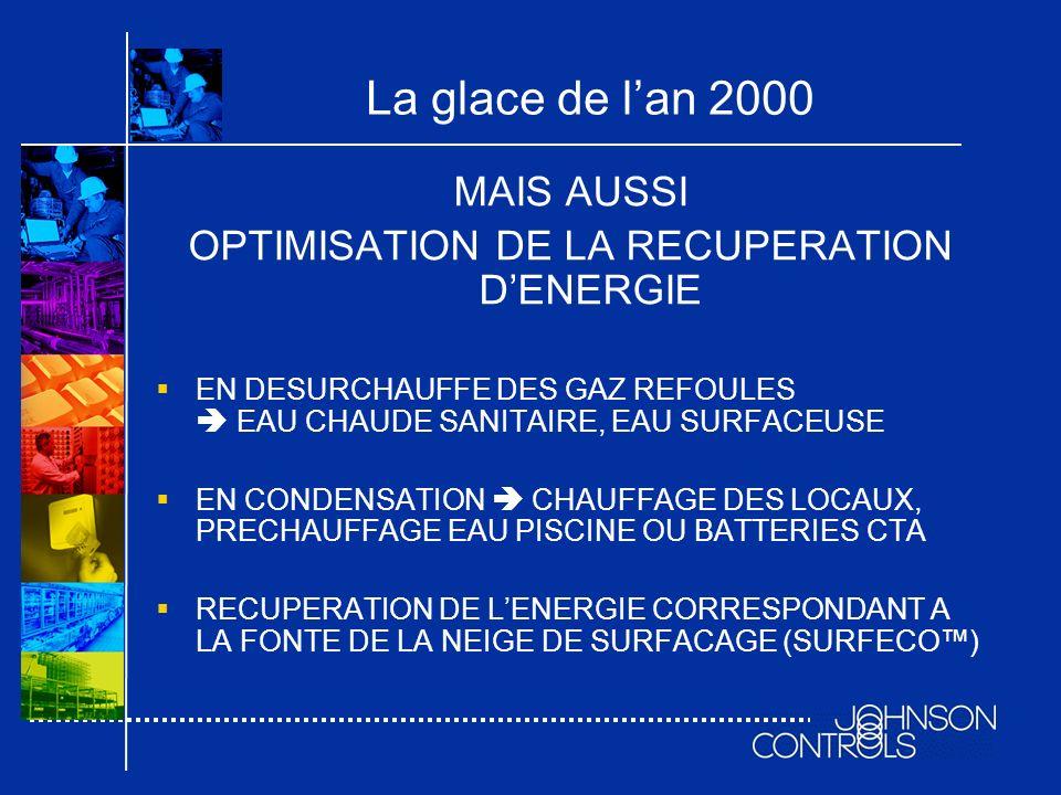 La glace de lan 2000 MAIS AUSSI OPTIMISATION DE LA RECUPERATION DENERGIE EN DESURCHAUFFE DES GAZ REFOULES EAU CHAUDE SANITAIRE, EAU SURFACEUSE EN COND