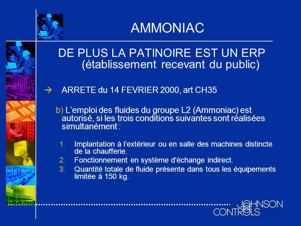 AMMONIAC DE PLUS LA PATINOIRE EST UN ERP (établissement recevant du public) ARRETE du 14 FEVRIER 2000, art CH35 b) Lemploi des fluides du groupe L2 (A