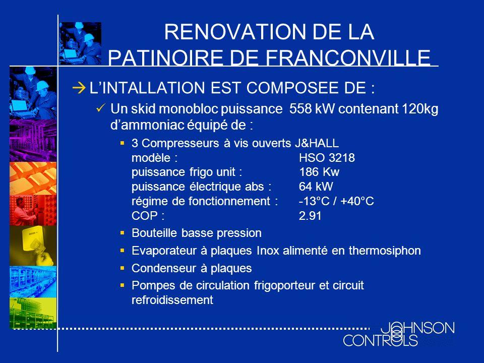 RENOVATION DE LA PATINOIRE DE FRANCONVILLE LINTALLATION EST COMPOSEE DE : Un skid monobloc puissance 558 kW contenant 120kg dammoniac équipé de : 3 Co