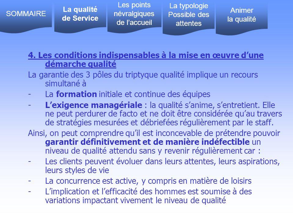 4. Les conditions indispensables à la mise en œuvre dune démarche qualité La garantie des 3 pôles du triptyque qualité implique un recours simultané à