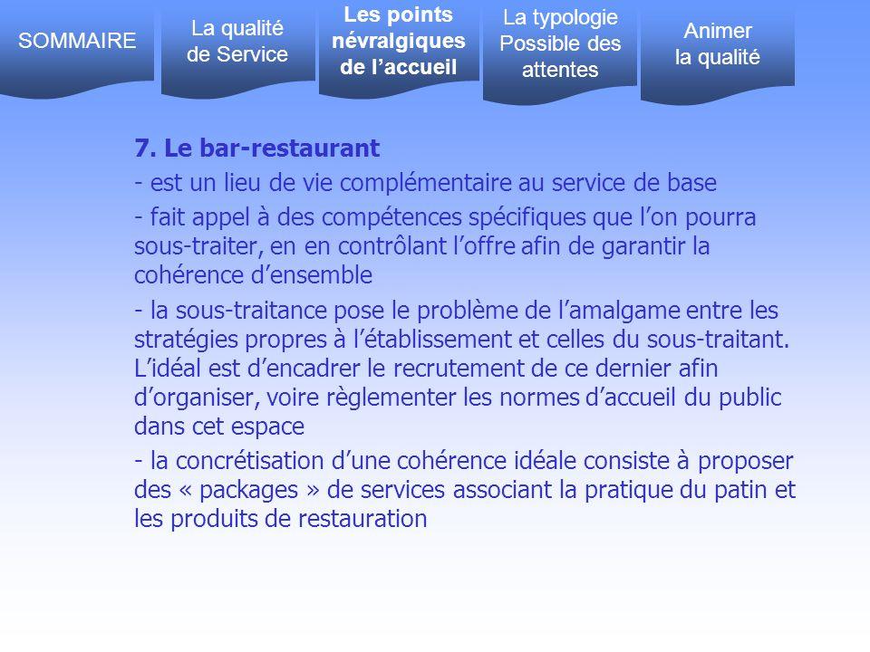 7. Le bar-restaurant - est un lieu de vie complémentaire au service de base - fait appel à des compétences spécifiques que lon pourra sous-traiter, en