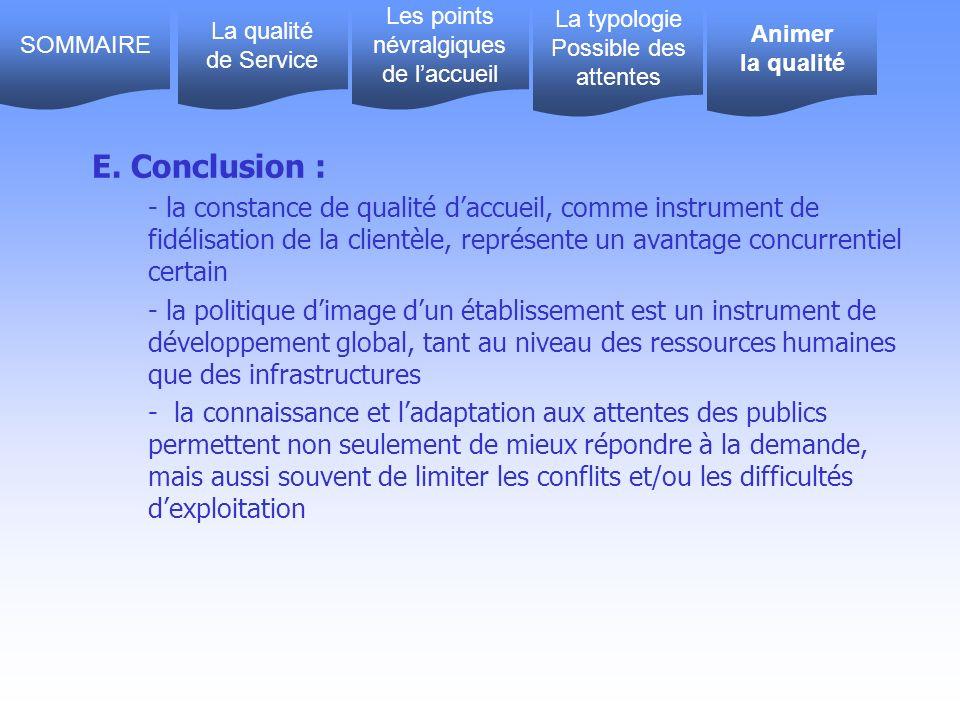 E. Conclusion : - la constance de qualité daccueil, comme instrument de fidélisation de la clientèle, représente un avantage concurrentiel certain - l