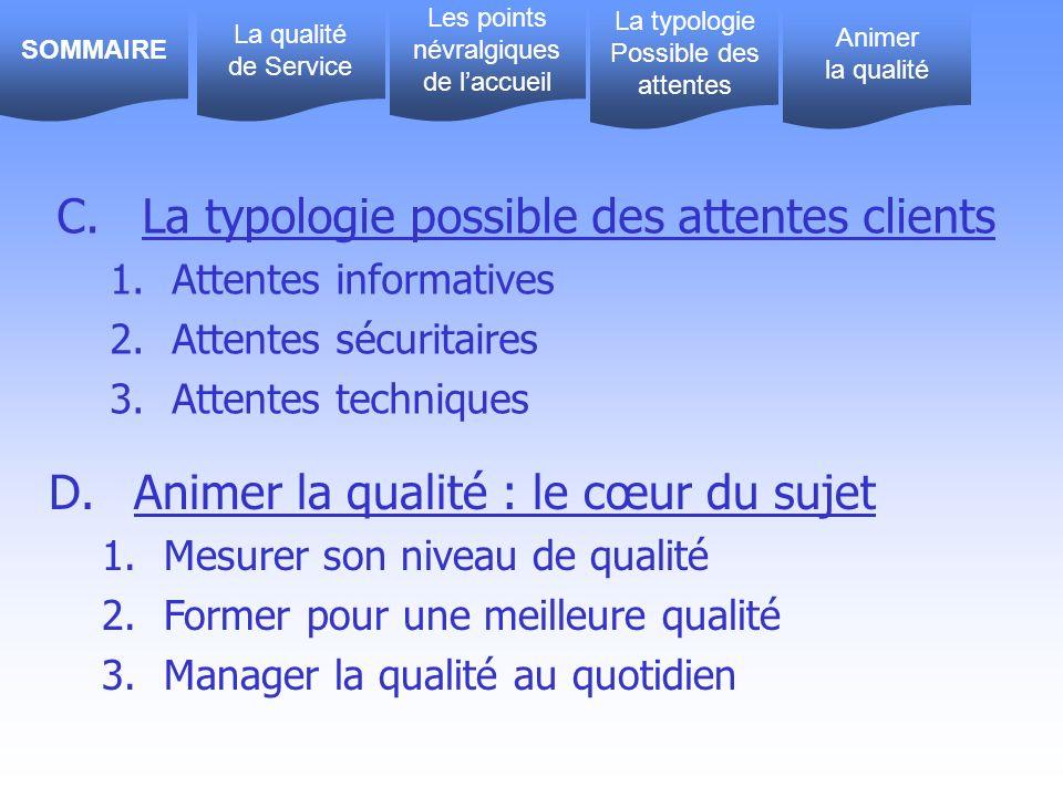 C. La typologie possible des attentes clients 1.Attentes informatives 2.Attentes sécuritaires 3.Attentes techniques D. Animer la qualité : le cœur du