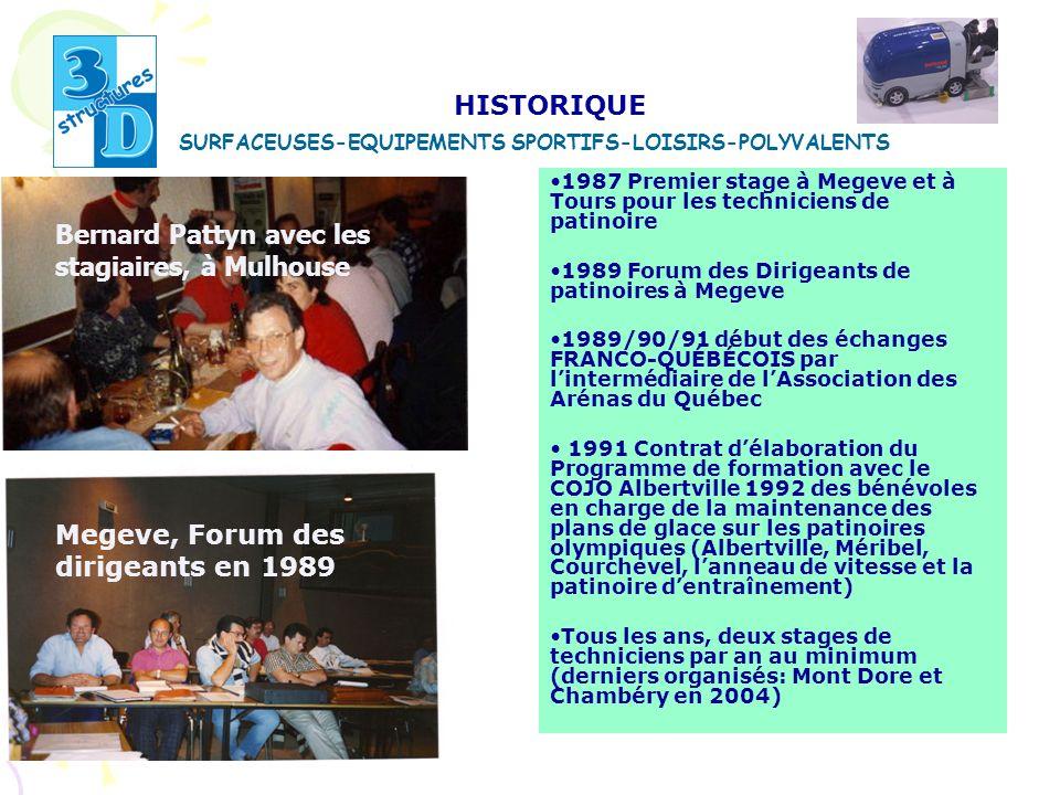 1987 Premier stage à Megeve et à Tours pour les techniciens de patinoire 1989 Forum des Dirigeants de patinoires à Megeve 1989/90/91 début des échange