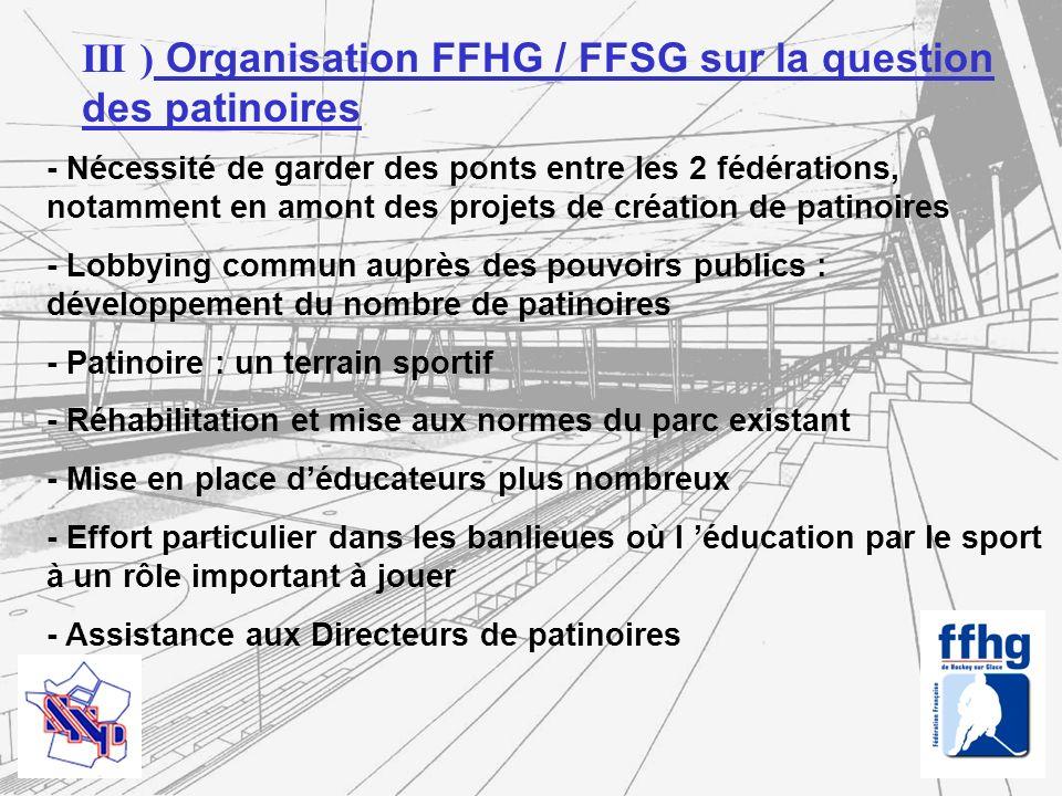 IV) Développement des patinoires - Mise place au sein de la FFHG d une commission Équipements sportifs - Elle regroupe des experts et sera présidée par Sylvain Devaux, membre du Comité Directeur de la FFHG - Cette Commission est chargée notamment de : Réaliser et tenir à jour un règlement particulier relatif aux normes de tout équipement sportif, en respectant les règles internationales fixées par l IIHF Répondre aux différents acteurs souhaitant disposant des règles fédérales et internationales en vigueur Sassurer du respect des règles mises en place