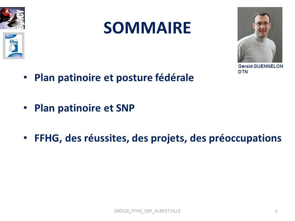 SOMMAIRE Plan patinoire et posture fédérale Plan patinoire et SNP FFHG, des réussites, des projets, des préoccupations 2090526_FFHG_SNP_ALBERTVILLE Gé