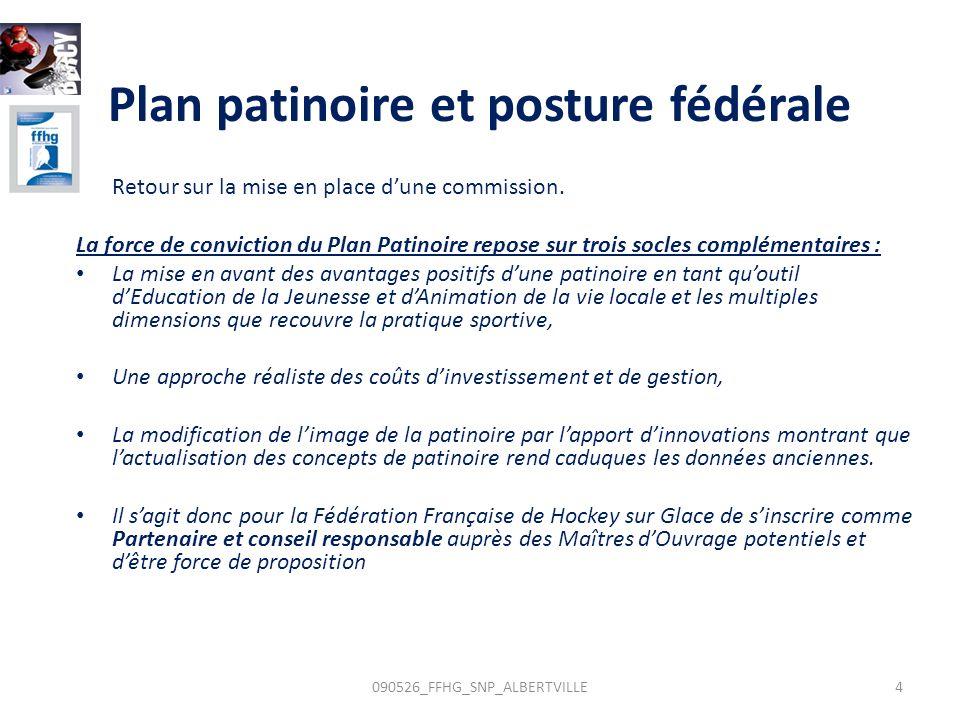 Plan patinoire et posture fédérale Retour sur la mise en place dune commission. La force de conviction du Plan Patinoire repose sur trois socles compl